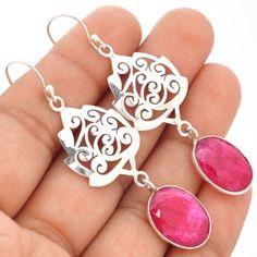 Ruby-925-Sterling-Silver-Earrings-Jewelry-SE73908