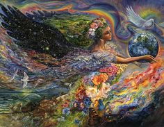 Josephine Wall - Earth Angel  With the universe in her wings, Earth Angel gently cradles our precious world, bearing gifts of tranquillity, harmony and peace for all. In her wake she brings an abundance of beautiful flowers and creatures great and small to fill the idyllic countryside. The dove of peace and the rainbow of hope are her constant companions on her flight of creation.