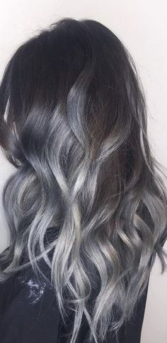 It's official: the fashion world can not get enough of dark smokey grey ombre hair. Here's how to make silver balayage look young, fun and stylish. Black Ash Hair, Grey Ombre Hair, Silver Grey Hair, Brown Hair, Ash Grey, Silver Hair Colors, Grey Hair Colors, Black And Silver Hair, Silver Ash