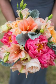 Coral Peony, Peach Amaryllis, Lambs Ear, and Pink Lisianthus