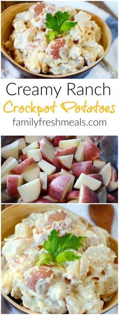 Creamy Ranch Crockpot Potatoes Recipe - http://FamilyFreshmeals.com - One scoop of these crockpot potatoes is NEVER enough!