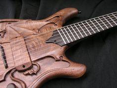 like the detail on the end of the fretboard Custom Electric Guitars, Custom Guitars, Guitar Rack, Cool Guitar, Beautiful Guitars, Weird And Wonderful, Wood Carving, Graham, Bass