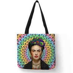Frida Kahlo Print Tote Bag Linen Reusable Shopping Totes 91dee2f1d6b30