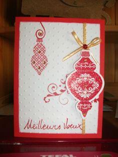 carte rouge pailleté et or stampin'up