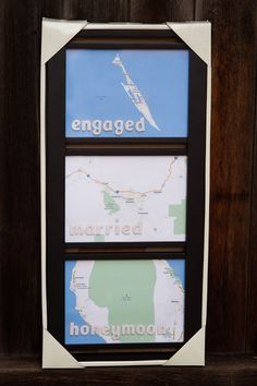 Location of where you get engaged, married and your honeymoon. too cute!