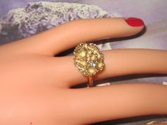 Vintage Molten Gold Ring With Crystal - Size 3.75 - R-040