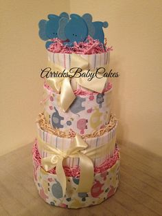 The Colorful Elephants 4 Tier Baby Girl Diaper by ArricksBabyCakes