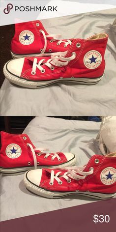High Red Converse Barely worn, good condition Converse Shoes Sneakers