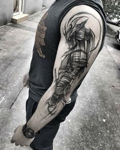 60 Reasons Why You Need A Sketched Tattoo Design - Sketch Style Tattoos - Tatouage Bild Tattoos, Body Art Tattoos, New Tattoos, Tattoos For Guys, Sleeve Tattoos, Cool Tattoos, Tatoos, Warrior Tattoo Sleeve, Samurai Tattoo Sleeve