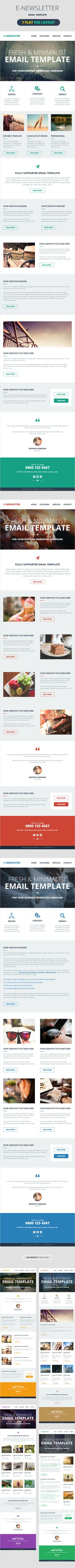 A set of 7 psds for Flat designed Email Templates which can be use for any kind of business like Travel, Corporate, E-commerce, Retail, Photographer, Artist, Designer & Freelancer. Design is clean and professional. Layers are well organized, you can easily customize its design & color as per your need.