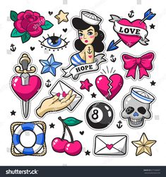 Old school fashion patch badges with heart, cherry, dagger and other elements. - Old school fashion patch badges with heart, cherry, dagger and other elements. Tattoo Old School, Old School Fashion, Rockabilly Tattoos, Rockabilly Fashion, Rockabilly Style, Trendy Tattoos, Cool Tattoos, Tatuagem Pin Up, Desenhos Old School