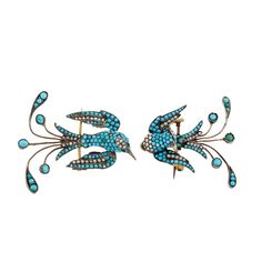 Two Silver, Cabochon Turquoise and Split Pearl Bird Brooches