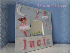 Espejito de bailarina pintado a mano Ikea Mirror, Mirrors, Decoupage, 3d Frames, Ideas Para, Kids Room, Projects To Try, Scrap, Crochet
