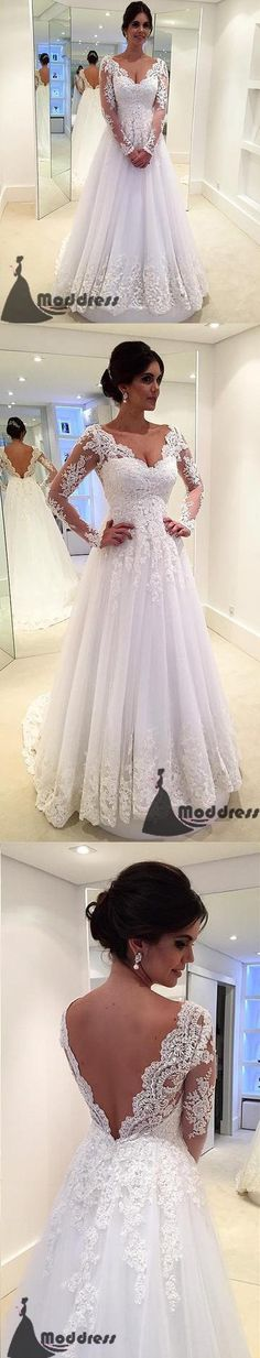 Elegant Lace Long Sleeves Tulle V-neck Wedding Dress A-Line Bridal Dress,HS562 #promdresses #fashion #shopping #dresses #eveningdresses