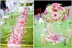 Wedding, Flowers, Reception, White, Pink, Green, Centerpiece, Roses