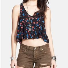 Free people crop floral tank Cami ruffle Sleeveless ruffle bottoms tank with u finished hems Free People Tops Tank Tops