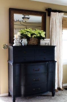Clean lines...I love order! :) #black chest of drawers