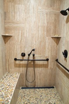 Oil-rubbed bronze grab bars look more like accent pieces than silver/chrome/nickel ones. Handicapped Accessible Shower Design Ideas, Pictures, Remodel and Decor Ada Bathroom, Handicap Bathroom, Small Bathroom, Master Bathroom, Bathroom Vanities, 1950s Bathroom, Bathroom Furniture, Bathroom Storage, Bad Inspiration