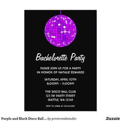 Purple and Black Disco Ball Bachelorette Party