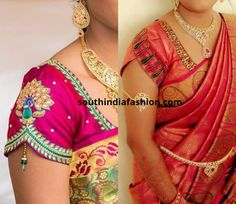 Sleeve ends are how fancy you can make the end of the blouse sleeves. Here are some interesting saree blouse sleeve designs Lengha Blouse Designs, Cutwork Blouse Designs, Kids Blouse Designs, Wedding Saree Blouse Designs, Hand Work Blouse Design, Simple Blouse Designs, Stylish Blouse Design, Blouse Neck Designs, Hand Designs