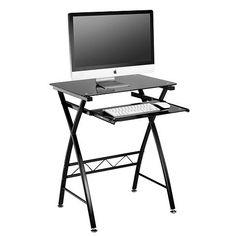 Tesco direct: VonHaus Black Glass Computer Desk / Workstation with Pull-Out Shelf