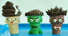 Colored ice cream cones, cake mix, frosting, and assorted candies turn a simple cupcake cone into the Bride of Frankenstein, Frankenstein, and Wolf Man. Get the full instructions here.Source: Kitchen Fun With My 3 Sons
