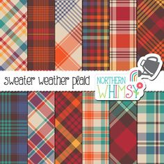 """Fall Plaid Digital Paper - """"Sweater Weather Plaid"""" - red, orange, gold, brown, teal & blue scrapbook paper - autumn tartan - commercial use Fall Plaid, Creative Sketches, Graphic Patterns, Graphic Design, Paint Markers, Pencil Illustration, Digital Scrapbooking, Digital Papers, Scrapbooking Ideas"""