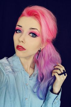 Pink, purple and blue hair and makeup. Scene alternative hair.