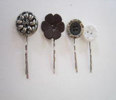 A lovely range of four hair slides featuring vintage flower buttons  to make sure you outdazzle everyone.