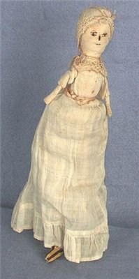 Doll, 1785-1795, probably made by Mary Denison of Stonington, CT for her daughters.  Obj# 1945.193, Wisconsin Historical Society
