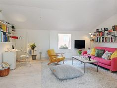 Exciting Small Apartment Living Room Design With Pink Fabric Loveseat Sofa And Rectangle White Acrylic Coffee Table Using Aluminum Frame Also Yellow Fabric Chair On Area Large Grey Rugs, Extraordinary Scandinavian Home Interior Design Ideas: Interior