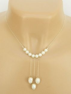 Bridal Necklace - Glass Pearls With Swarovski Crystals Silver Handmade | DoubleSJewelry - Jewelry on ArtFire