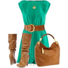 A fashion look from October 2012 featuring green dress, high heel booties and michael kors purses. Browse and shop related looks. Fashion Moda, Look Fashion, Winter Fashion, Womens Fashion, Fashion Trends, Spring Fashion, Street Fashion, Fashion Tips, Polyvore Outfits