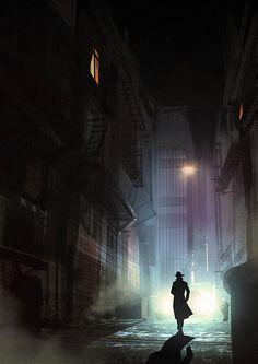 film noir Noir Detective - video process by Hideyoshi on DeviantArt Cyberpunk, Film Noir Photography, Glamour Photography, Hipster Noir, Gouache, Detective Aesthetic, Neon Noir, Style Noir, World Of Darkness