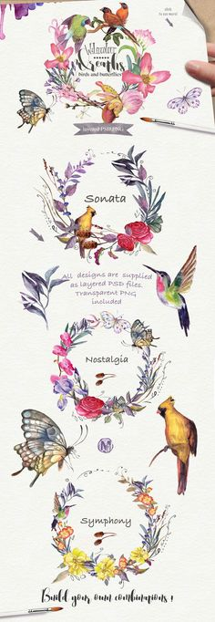 Watercolor floral wreaths vol.2 by Mikibith on @creativemarket