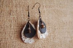Leather & Vintage French Lace Earrings
