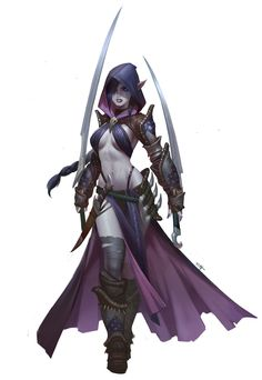 Dark elf assassin, Tooth Wu on ArtStation at https://www.artstation.com/artwork/Yokq6