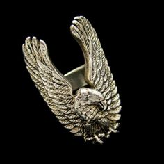 Striking #Vintage Silver Plated American Eagle Patriotic #Biker #Ring from #MyClassicJewelry