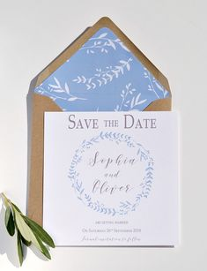 // Cornflower blue wreath wedding stationery collection// Full range of matching stationery available Save the date cards. Perfect for spring / summer weddings, destination weddings, greek weddings, By Grace & Bramble