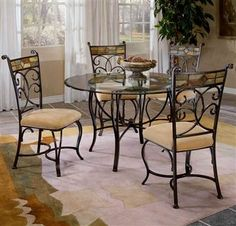 Hillsdale Furniture - Slate Mosaic Dinette Set with Four Dining Chairs