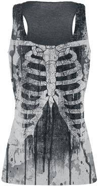 Outer Vision Ribs And Bones Girl-Top grau meliert S Grey Fashion, Punk Fashion, Womens Fashion, Punk Outfits, Gothic Lolita, Wearing Black, Trends, Mantel, Shirt Style
