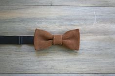 Desert Brown Leather Bow Tie on Beetle Kill Pine