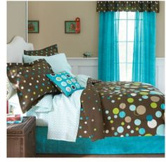 6-8pc BLUE & BROWN Polka Dots COMFORTER+SHEETS Dorm Teen Girls Kids Bed Room Set