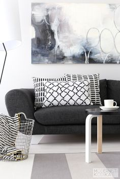 Scandinavian colours, grey graphic pillows