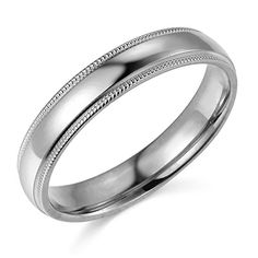 14k White Gold 4mm COMFORT FIT Plain Milgrain Wedding Band  Size 7 *** Find out more about the great product at the image link.(This is an Amazon affiliate link and I receive a commission for the sales)