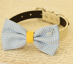Blue and yellow dog bow tie collar, Pet wedding accessory, Heart Charm, Dog birthday gift, dog collar, Beach wedding, Gift, Dog collar
