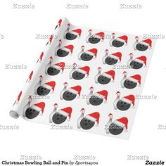 Christmas Bowling Ball and Pin Wrapping Paper #SPORTS4YOU #Gravityx9