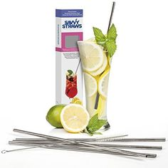 Stainless Steel Straws by Savvy Straws - Straight Extra Long 10.5 inch Length - Set of 5 Reusable Metal Drinking Straws   Cleaning Brush   Gift Box - Fit Popular To Go Cups