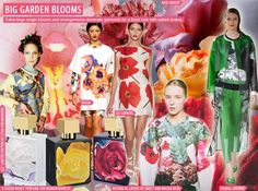 SS 2016 Women's Exotic Prints, Big Garden Blooms #fashion #prints #forecasting