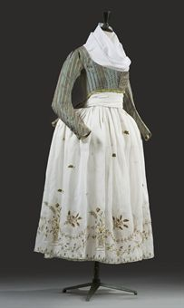 "Green striped silk ""macaroni"" jacket and embroidered white skirt, French, c. 1790s."